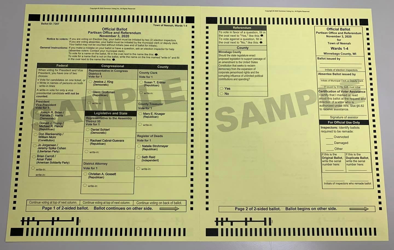 November 3, 2020 General Election Sample Ballot