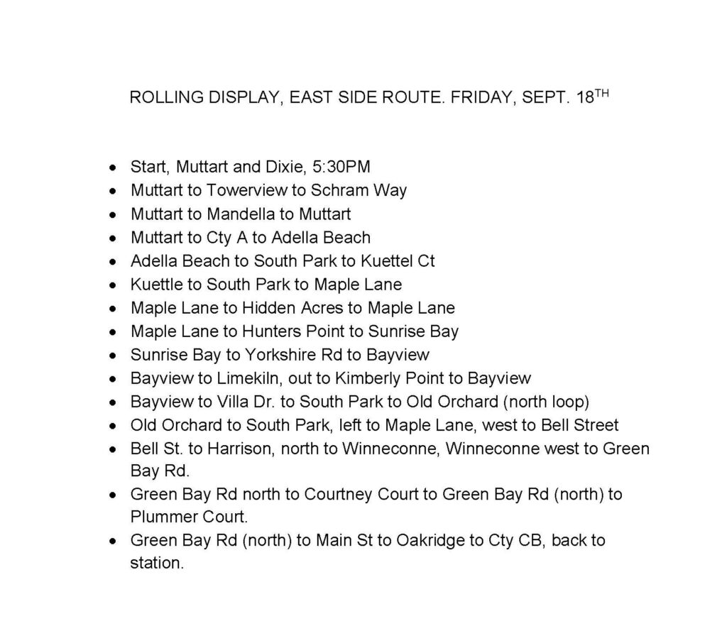 Schedule for  Friday, Sept. 18th