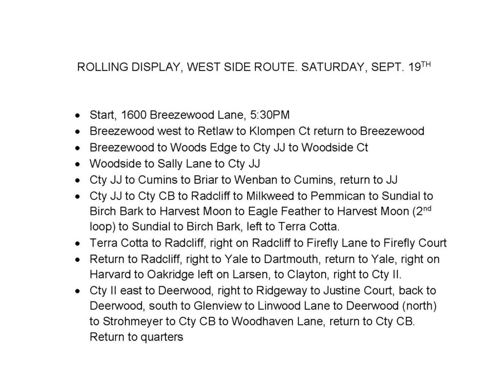 Schedule for Saturday, Sept. 19th